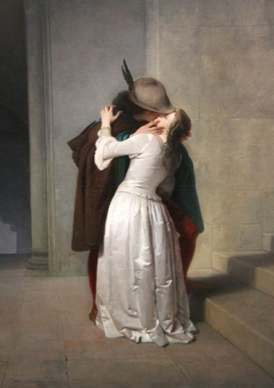 Hayez, Francesco: The Kiss. Fine Art Print/Poster. Sizes: A4/A3/A2/A1 (003420)
